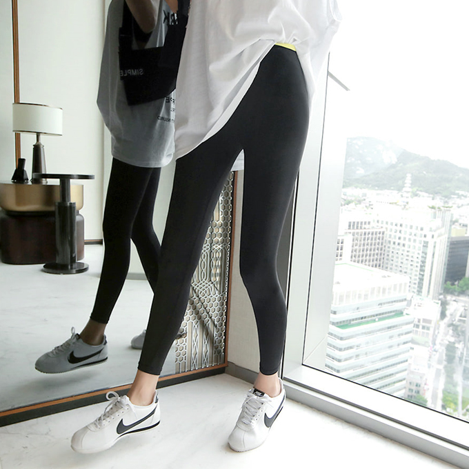 Contrast Color Elastic Band Leggings