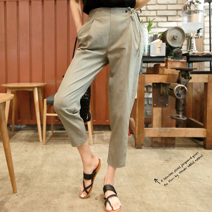 Self-Tie Side Strap Tapered Leg Pants