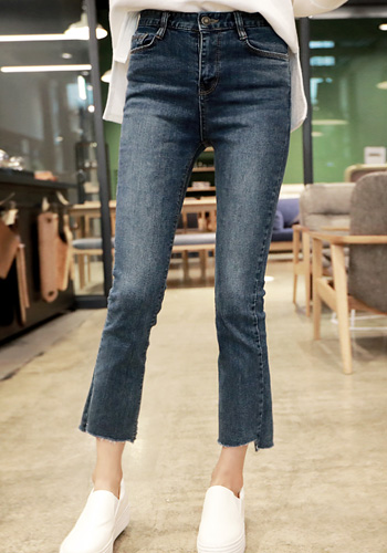 Cropped Raw Hem Bootcut Jeans