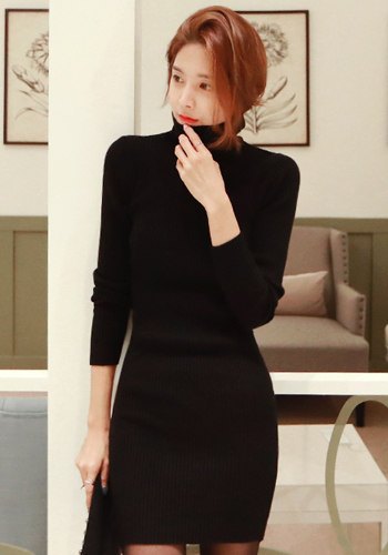 Ribbed Knit Slim Fit Turtleneck Dress