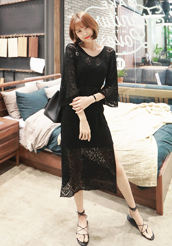 Eyelet Knit Pattern Self-Tie Waist Dress