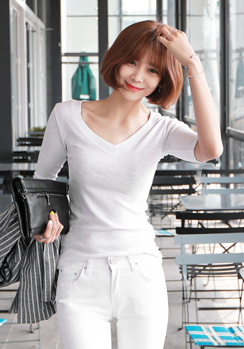 Slim V-Neck Half Sleeve T-Shirt