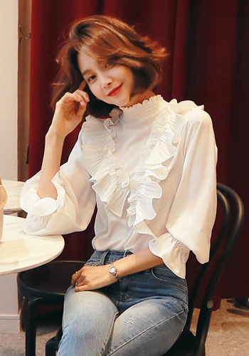 Frilled Shirred Smock Blouse