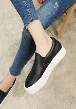 Thick Soled Slip On Sneakers