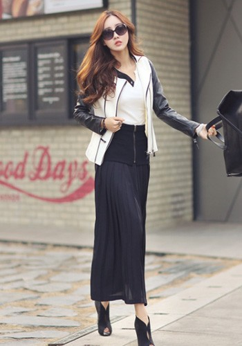 2-in-1 Pleated Maxi Skirt